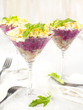 Beetroot salad with herring in a glass