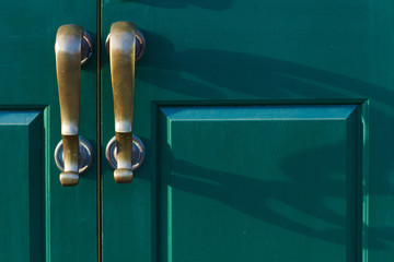 Bronze handles cast shadows on the green door