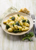 gnocchi with broccoli, selective focus