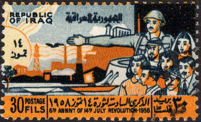 Postage stamp showing  soldier and peope to commemorate revoluti