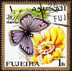 Postage stamp showing a butterfly