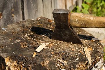 Axe and stump
