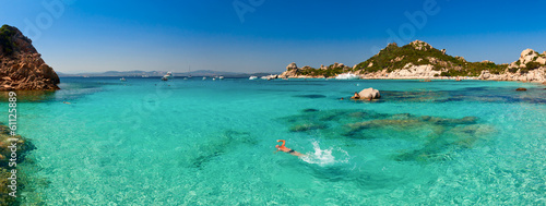 Clear turquoise water of Cala Corsara bay in Sardinia
