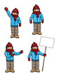 Set of 4 cartoon characters, different poses