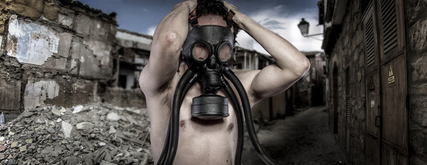 Toxic.Environmental disaster. Post apocalyptic survivor in gas m