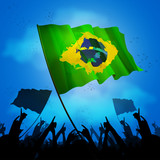 brazil sport fan crowd with flag