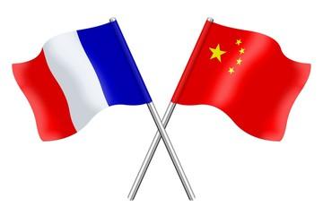 Drapeaux : duo France Chine
