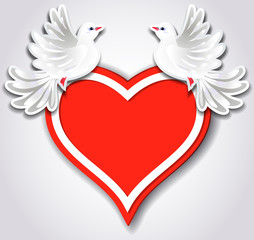 Red heart and two pigeons
