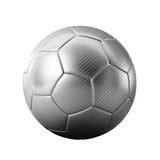 Isolated silver soccer on white background - easy to cutout