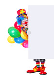 Birthday clown holding blank board full length