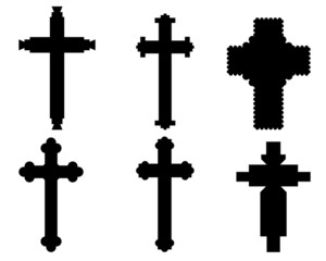 Black silhouettes of different crosses, vector illustration