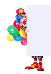 Birthday clown holding blank board full length