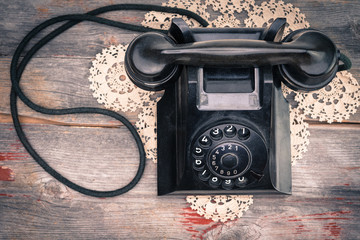 Old-fashioned rotary telephone