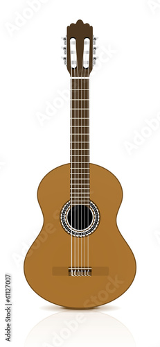 Classical guitar on white background.