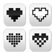 Pixel heart vector buttons set - love, dating online concept