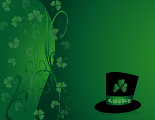 St Patrick's- Green Shamrock with a Black Hat
