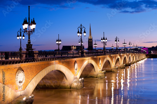 Poster Brug The Pont de pierre in Bordeaux
