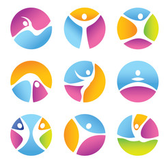 Set of round fitness symbols and icons