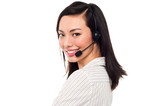 Smiling attractive call center executive