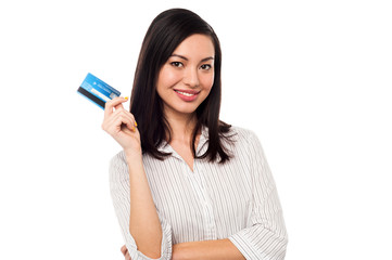 Business lady showing credit card to camera