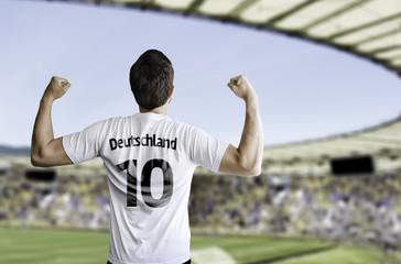 German fan celebrates on the stadium