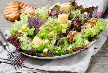salad with a walnut and cheese