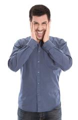Lachender junger Mann in blau - Glück und Freude