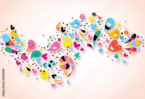 Naklejka na meble cute characters fun party abstract art background