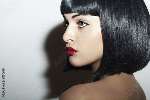 Beautiful Brunette Girl. Healthy Black Hair. bob Haircut