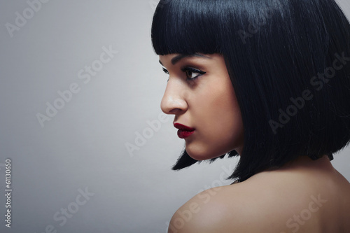 Beautiful Brunette Woman.Healthy Retro Haircut Young Lady