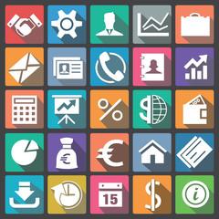 Business icon set flat