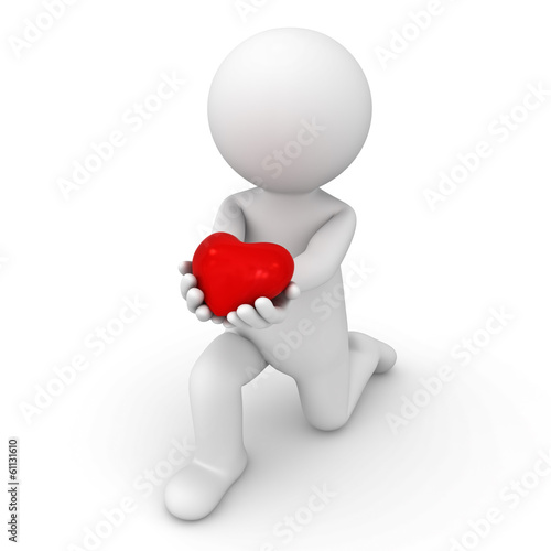 3d man getting down on one knee and giving heart on white