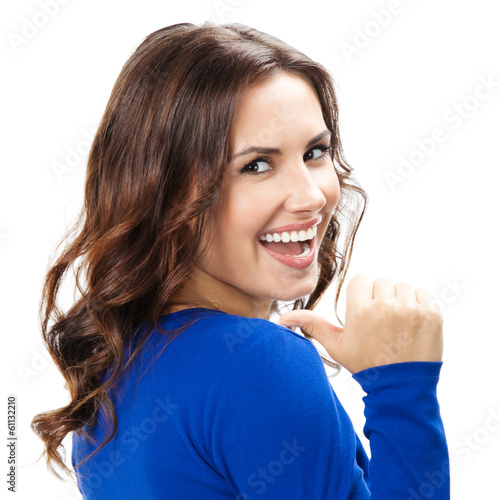 Woman showing thumbs up gesture, isolated