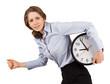 Sad girl runs with a clock