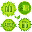 Bio, natural, fresh - vector badges set