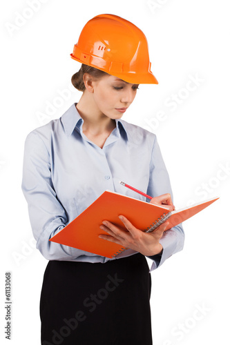 Girl in the orange protective helmet