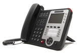 Black IP office phone isolated on white background