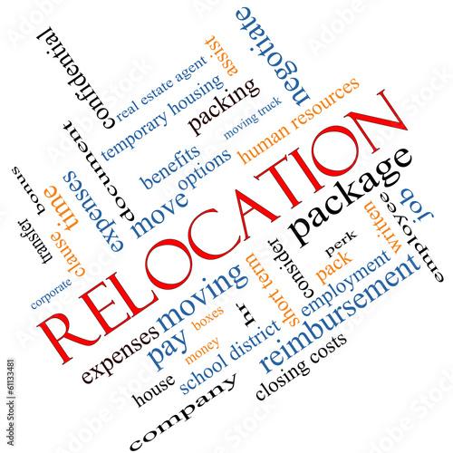 Leinwandbild Motiv Relocation Word Cloud Concept Angled