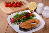 Fried trout with salad