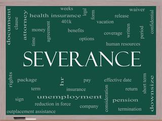 Severance Word Cloud Concept on a Blackboard