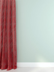Elegant red curtains against a light blue wall
