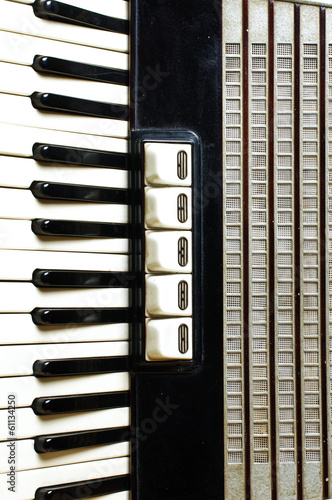 Accordion keyboard closeup