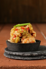 Korean traditional salad cabbage kimchi with hot pepper