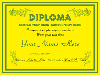 Yellow diploma design
