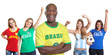 Laughing man from Brazil with four female sports fans