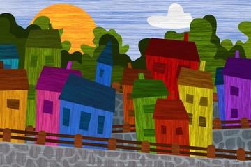 gruppo di casette colorate