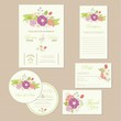 Set of wedding invitation, thank you, RSVP card, save the date