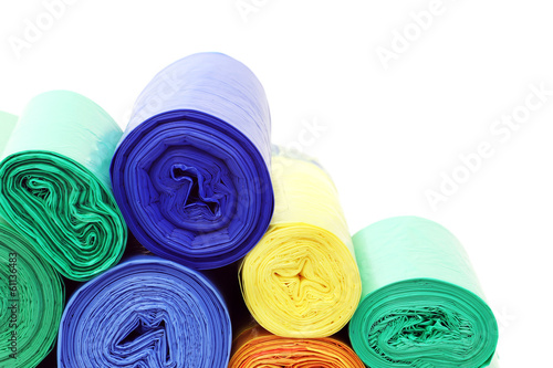 A lot of garbage bags rolls on a white background - 61136483