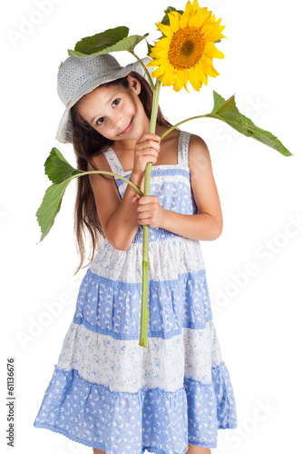 Smiling girl with sunflower
