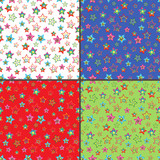 Four seamless vector patterns with colorful stars